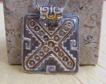 Ancient Mexican Fine Silver and Gold Pendant