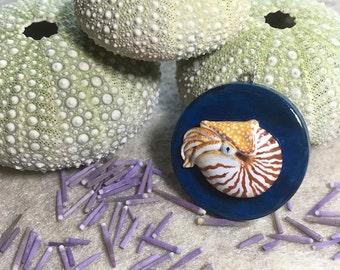 Polymer clay nautilus pendant