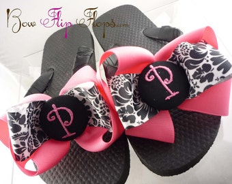 Damask Bow Flip Flops, with Hot Pink Monogram in all Sizes for Ladies/ Girls. Great for Wedding Bridesmaid Flip Flops or Gifts