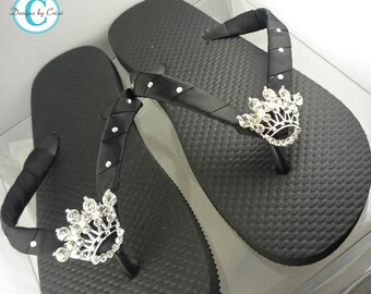 Swarovski accent Crown Flip Flops. Rhinestone Bling Flip Flop Sandals for Ladies and Girls. Many Colors & Sizes.