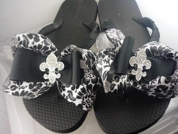 Fleur de Lis Flip Flops with Damask Ribbon Bows- Flats or Wedges- Girls/ Ladies sizes. Many Colors