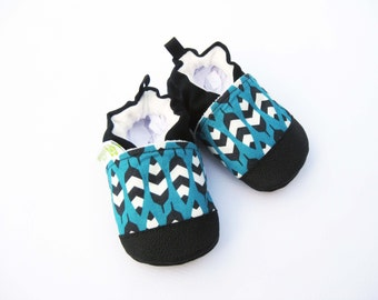 Organic Vegan Feather in Teal Blue / non-slip soft sole baby shoes / made to order / Babies Toddlers Preschool