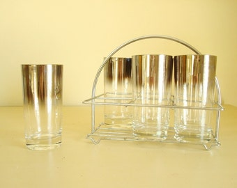 Silver fade glassware set, six drinking glasses, silver ombre, 6 tumblers in carrier, mercury luster, highball, Tom Collins, mid-century