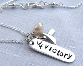 V 4 Victory Hand Stamped Necklace with V for Victory Foundation, Cancer Awareness Jewelry, Sterling Silver Necklace, Awareness Ribbon Charm