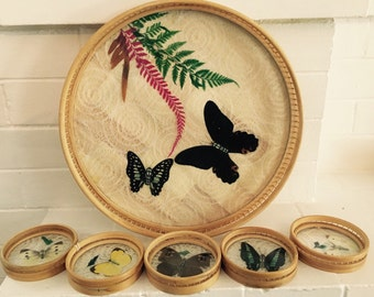 Butterfly Tray  with 6 Matching Coasters