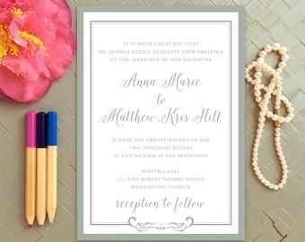 CLASSIC GRAY WEDDING Invitation Modern Script Wedding Suite Reply Card Grey & White Wedding Invite Set Printed or DiY Printable - Anna Marie