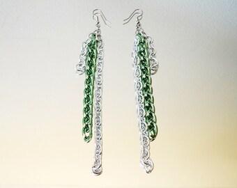 Long Green & Silver Colored Chain Earrings