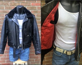 Vintage D Pocket Biker Motorcycle Jacket - Sears Black Leather - Removeable Fur Collar - late 1960s