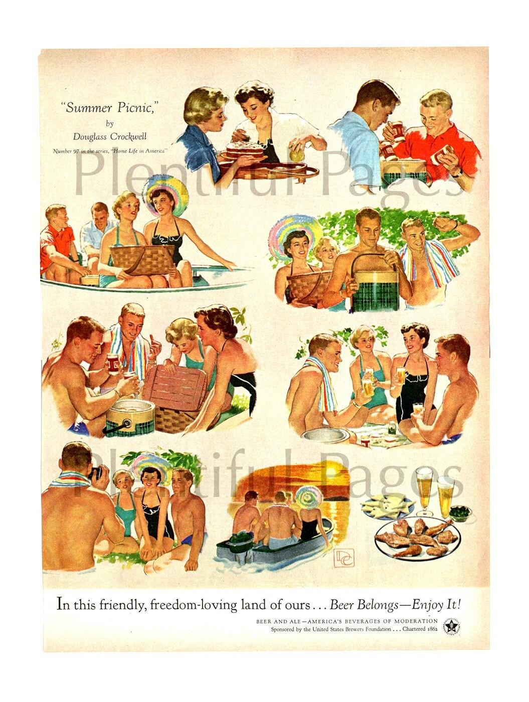 1950's Beer Belongs Vintage Ad Illustration