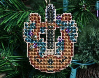 Lyre Cross Stitched and Beaded Holiday Christmas Tree Ornament - Free U.S. Shipping