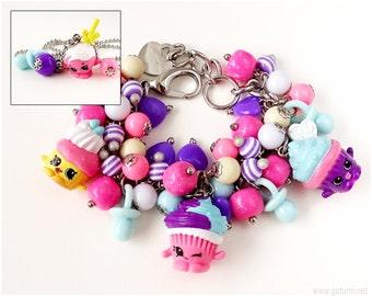 Shopkins Jewelry Set, Shopkins Charm Bracelet, Shopkins Necklace, Little Girls Gifts, Children's Jewelry, Cupcake Jewelry