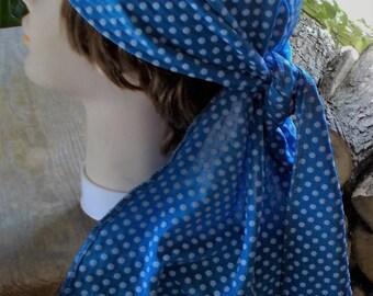 STRETCH XLONG DORAG Blue Knit White Polka Dots Womens Chemo Biker Doorag