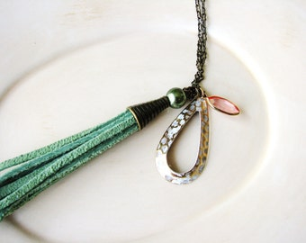 Mint Green Tassel Necklace, Leather Necklace, Long Layering Necklace, Boho Necklace, Tribal Necklace, Long Necklace, Minimalist