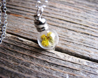 Yellow Yarrow Vial Necklace, Real Dried Flowers in Glass, Boho Layering Necklace, Terrarium Necklace, Plant Necklace, Long Silver Necklace