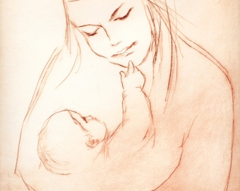 "Original art print ""Mother and Child"". Drypoint. 25x20 cm."