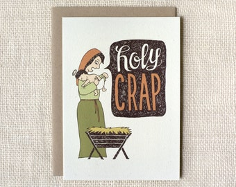 Sale 50% Off - Funny Christmas Card - Holy Crap