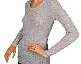Vintage 1970s Sweater - Silver Lurex - Metallic Knit - Disco - S