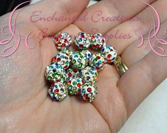 10mm White with Multicolor Stones Pave Rhinestone Beads, Clay Beads Qty 10