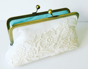 CUSTOM, HEIRLOOM, REPURPOSE old wedding dress into a bridal clutch - reuse an old dress -  mom or grandmas -  Made from Moms Dress,  Formal