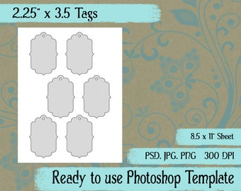 """Tags - Digital Layered Collage Sheet Template:  2.25"""" x 3.5"""""""