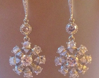 Sterling silver and clear crystal Earrings