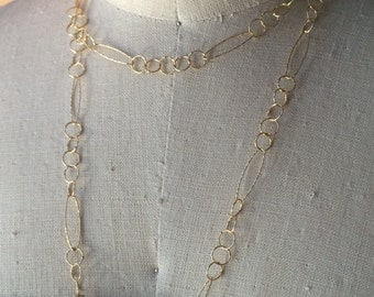 Diamond Cut Gold Oval and Circle Long Chain Necklace, Long Statement Chain, Gold plated Sterling Silver, Layering Jewelry