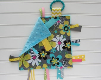 Ribbon Lovey - Baby Girl - Grey, Aqua, Yellow and Lime Flowers with Aqua Minky Back, Ribbon Toy