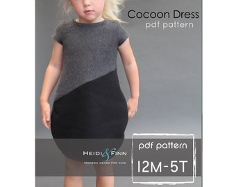 NEW  Cocoon dress PDF pattern and tutorial 12m-5T  tunic dress jumper  easy sew