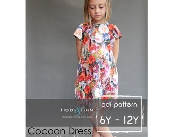 NEW  Cocoon dress PDF pattern and tutorial 6y-12y  tunic dress jumper  easy sew