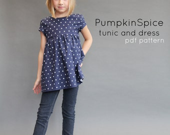 Pumpkin Spice PDF pattern and tutorial 12m-12y  tunic dress jumper blouse