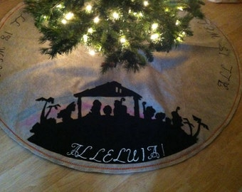 Bethlehem Manger Sillhuette Shadow Creche All Is Well Alleluia Felt Family Size Nativity Faith Beige Christmas Tree Skirt  FREE SHIP- lower