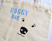 Doggy Bag Tote - Recycled Canvas Bag - Hand-Stenciled Ecobag - Dog Gift Bag - Hand-painted Totebag