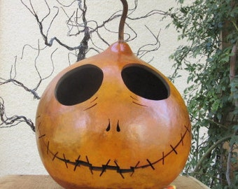 Halloween Gourd Large Jack Skellington Jack O Lantern Primitive Pumpkin Decoration ( inspired by Tim Burton )