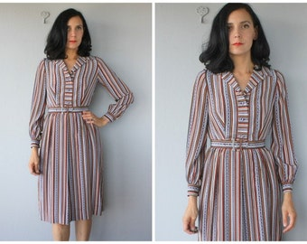 Vintage 70s Dress | 1970s Shirtdress | Silk Dress | Belted 70s Shirtdress | Vintage 1970s Dress  | Vintage 70s Midi Dress