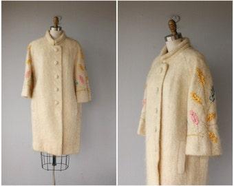 Vintage 60s Coat | Vintage 1960s Coat | 60s Mohair Coat | 60s Wool Coat | Vintage Cocoon Coat | Vintage 50s Coat | Leaf Embroidered Coat