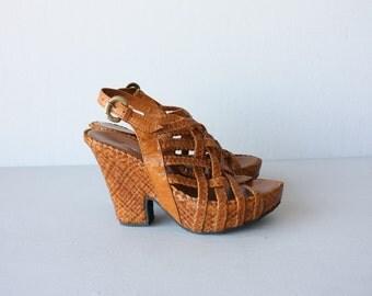 Vintage Wedges | Deadstock Platform Wedges | Platform Sandals | Vintage Platforms | Leather Wedges size 8