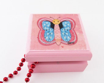 Butterfly Jewelry Box - Iridescent detailed Butterfly Square Wooden Box - Inspirational Small Jewelry Box