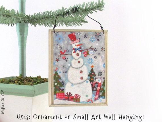 Snowman Ornament - Christmas Snowman Holiday Decoration Wall Art - Woodland Snowman Art - Snowman decoupaged Ornament