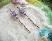 Victorian Earrings with Light Blue Lamp Work Beads , Handmade Delicate Vintage Style