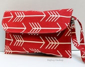 Large Fold Over Clutch - Diaper Clutch  - Deep Red Arrows