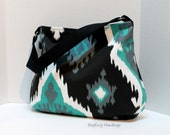 The Newport Slouch Bag - Ikat in Teal