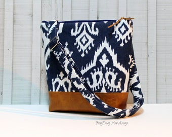 Hipster Messenger Bag - Navy Ikat with Vegan Leather
