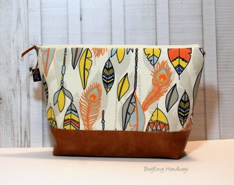 Orange and Navy Feathers with Vegan Leather - Large Make Up Bag / Diaper Clutch / Bridesmaid Gift