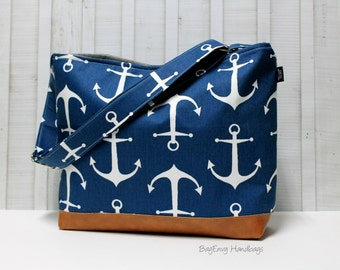 Navy Anchors with Vegan Leather - Messenger Tote Bag /  Diaper Bag -  Medium / Large Bag  SALE