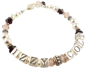 Mothers Bracelet with 2 names - custom sterling silver & swarovski crystal personalized gift for Mom, Grandma, any names