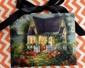 All Hallow's Eve ~ Art Print, Halloween Print, Halloween Card, Jack-o-Lanterns, Autumn Cottage by the Sea