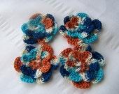 Crochet motif set of 4 flowers 1.5 inchsea scape embellishment crochet flower