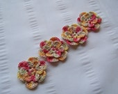 Crochet flower motif 1.5 inch multi color set of 4 flowers