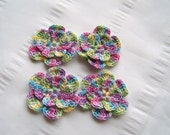 Crochet flower motif 1.5 inch multi color set of 4 flower
