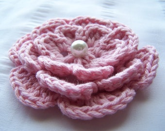 Crochet motif flower with bead 3 inch light pink